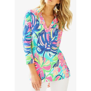 Lilly Pulitzer VERO Tunic Top MULTI EXOTIC GARDEN